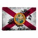 iCanvasArt Florida Flag, Grudge Palm Trees Graphic Art on Canvas