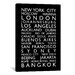 iCanvasArt 'World CitiesBus Roll' by Michael Tompsett Textual Art on Canvas