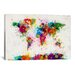 <strong>iCanvasArt</strong> 'World Map Paint Drops III' by Michael Tompsett Painting Print on Canvas