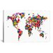 <strong>iCanvasArt</strong> 'World Map Hearts' by Michael Tompsett Graphic Art on Canvas