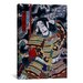 <strong>iCanvasArt</strong> Japanese Samurai with Katana Woodblock Painting Print on Canvas