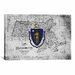 <strong>Massachusetts Flag, Grunge Texture Vintage Map Graphic Art on Canvas</strong> by iCanvasArt