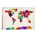 <strong>'Map of The World (Abstract Painting) II' by Michael Tompsett Graph...</strong> by iCanvasArt