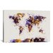 <strong>iCanvasArt</strong> 'Paint Splashes World Map' by Michael Tompsett Painting Print on Canvas