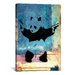<strong>iCanvasArt</strong> Street Art 'Panda with Guns Blue Square' Painting Print on Canvas