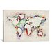 <strong>iCanvasArt</strong> Map Splashes by Michael Tompsett Painting Print on Canvas in Multi-color