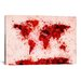 iCanvasArt World Map Splashes by Michael Tompsett Painting Print on Canvas in Red