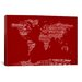 iCanvasArt World Map Sheet Music by Michael Tompsett Textual Art on Canvas in Red