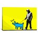 <strong>iCanvasArt</strong> Choose Your Weapon Keith Haring Dog ll Graphic Art on Canvas in Yellow