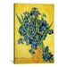 <strong>iCanvasArt</strong> 'Vase with Irises Against a Yellow Background' by Vincent Van Gogh Painting Print on Canvas