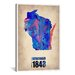 """iCanvasArt """"Wisconsin Watercolor Map"""" Canvas Wall Art by Naxart"""