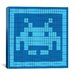 iCanvasArt Space Invader - Blue Invader Tile Art (Light Blue and Blue) Canvas Wall Art