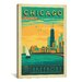 <strong>iCanvasArt</strong> 'The Lakefront - Chicago, Illinois' by Anderson Design Group Vintage Advertisment on Canvas