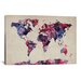 "<strong>iCanvasArt</strong> ""Urban Watercolor World Map VII"" by Michael Thompsett Painting Print on Canvas"