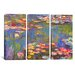 <strong>iCanvasArt</strong> Claude Monet Water Lilies 3 Piece on Canvas Set