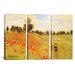 iCanvasArt Claude Monet Field of Poppies 3 Piece on Canvas Set