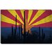 Arizona Flag, Cactus Grunge Canvas Wall Art