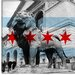 Chicago Flag, Art Institute of Chicago with Small Grunge Canvas Wall Art