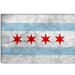 Chicago Flag, Grunge Canvas Wall Art