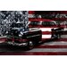 Vintage Polics Cops Car, American Flag Canvas Wall Art