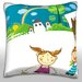 Maxwell Dickson Children Painting the all Town Scene Throw Pillow