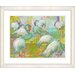 "<strong>Studio Works Modern</strong> ""White Flocking Flamingos"" by Zhee Singer Framed Painting Print"