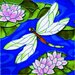 "8"" x 8"" Big Dragonfly with Lily Art Tile in Multi"
