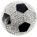 Black and White Soccer Ball Sports Crystal Brooch