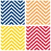 4 Piece Bright Colors Chevrons Occasions Coasters Set