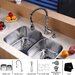 "<strong>32"" x 20.75"" Undermount 60/40 Double Bowl Kitchen Sink Set</strong> by Kraus"