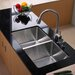 """32.75"""" x 19"""" Undermount Double Bowl 50/50 Kitchen Sink with Faucet ... by Kraus"""