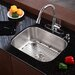"Stainless Steel Undermount 23"" Single Bowl Kitchen Sink with 14.9"" Kitchen Faucet and Soap Dispenser"