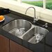 "Stainless Steel Undermount 30"" Double Bowl Kitchen Sink with 14"" Kitchen Faucet and Soap Dispenser"