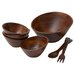Woodard & Charles Rubberwood Angle 7 Piece Salad Serving Set