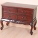 International Caravan Queen Anne Wooden 4 Drawer Console
