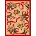 Winter Seasonal Holiday Bells and Bows Novelty Rug