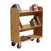 Diversified Woodcrafts Solid Oak Book Truck With 2 Sloped & 1 Flat Shelf