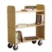 "15"" Solid Oak Book Truck With 3 Flat Shelves"