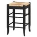 "24"" Rush Seat Counter Stool in Black"