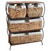 Rattan Four Drawer Dresser with Liners