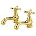 Vintage Widespread Bathroom Sink Faucet Set with Metal Cross Handles