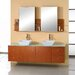 "Ultra Modern Clarissa 61"" Double Bathroom Vanity Set with Glass Top in Honey Oak"