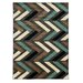 <strong>Roma Herringbone Grey/Turquoise Rug</strong> by Linon Rugs