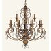 <strong>Livex Lighting</strong> Iron and Crystal 12 Light Chandelier in Crackled Bronze with Vintage Stone Accents