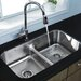 "Vigo 32.5"" x 18.25"" Equal Double Bowl Undermount Kitchen Sink"