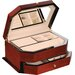 "Angled Front Teak 6"" High Jewelry Box in Brown Stain"