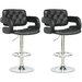 Tufted Adjustable Bar Stool with Armrest