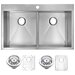 """<strong>33"""" X 22"""" Double Bowl Kitchen Sink</strong> by Water Creation"""