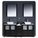 "Fresca Torino 72"" Modern Double Sink Bathroom Vanity Set with Side Cabinet and Vessel Sinks"