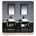 "Torino 84"" Modern Double Sink Bathroom Vanity Set with 3 Side Cabinets and Vessel Sinks"